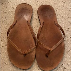 Reef brown leather flip flop